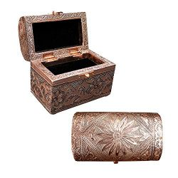 Vintage Jewelry Box Case | 9 Styles | Bronze or Silver Metallic Metal Plating with Floral Accent ...