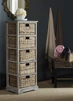 Safavieh American Homes Collection Vedette Vintage White 5 Wicker Basket Storage Tower