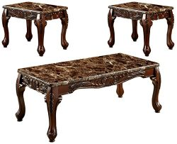 HOMES: Inside + Out IDF-4487BR-3PK Marin 3 Piece Table Set, Brown Faux Marble