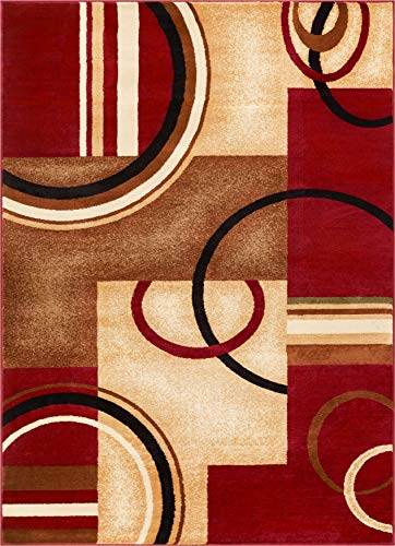 "Deco Rings Red Geometric Modern Casual Area Rug 8×10 8×11 ( 7'10"" x 9̵ ..."