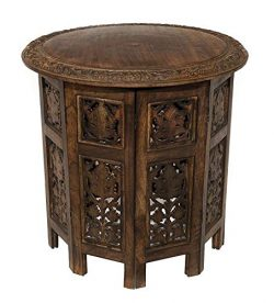 Artesia Solid Wood Hand Carved Rajasthan Folding Accent Coffee Table, 18 Inch Round Top x 18 Inc ...