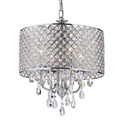 Edvivi Marya 4-Light Chrome Round Crystal Chandelier Ceiling Fixture | Beaded Drum Shade | Glam  ...