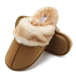 CIOR Fantiny Women's Memory Foam Slippers Faux Fur Lining Slip-on Clog Scuff House Shoes I ...
