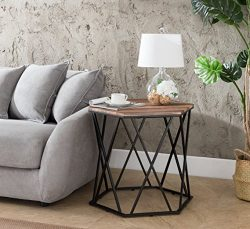 Weathered Oak/Metal Frame Hexagon Chair Side End Table 24″ H by eHomeProducts