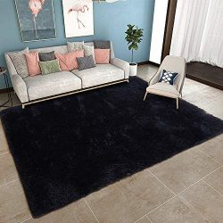 YOH Black Shag Area Rug Super Soft Modern Carpet for Living Room Bedroom Rug Home Decor(5.3× ...
