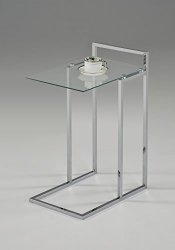 Chrome Finish / Clear Tempered Glass Snack Side End Table 25″H