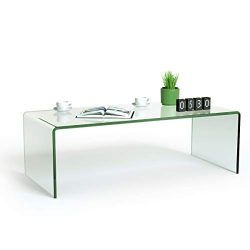 Tangkula Glass Coffee Table, 42.5″ L × 20″ W ×14″ H, Modern Home Furniture, Cl ...