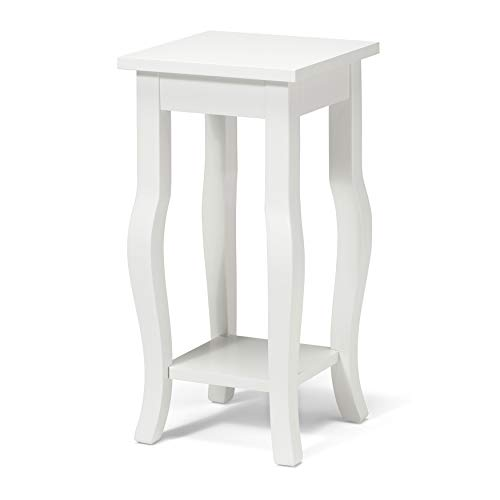 Kate and Laurel Lillian Wood Pedestal End Table Curved Legs with Shelf, 12″ x 12″ x  ...