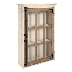 Kate and Laurel Hutchins Farmhouse Wood Wall Storage Cabinet with Window Pane Glass Door, Rustic ...
