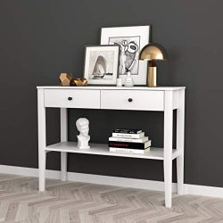 White Finish Entryway Console Sofa Table with Two Drawers and Shelf