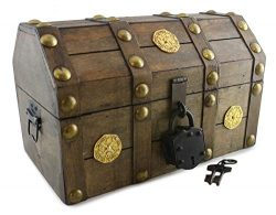 Well Pack Box Pirate Treasure Chest Box 11 x 7 x 6 with Antique Lock Key Distressed Brown (Small)