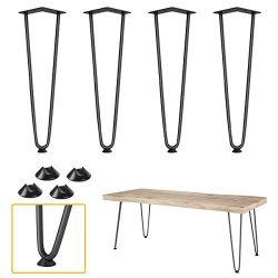 Elicit 16″ Heavy Duty Hairpin Coffee Table Legs (Set of 4), 3/8″ Thick, Black