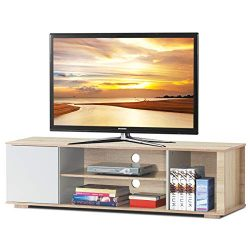 Tangkula TV Stand, Media Unit Storage Media Console Cabinet Home Furniture TV Stand, Open Compar ...