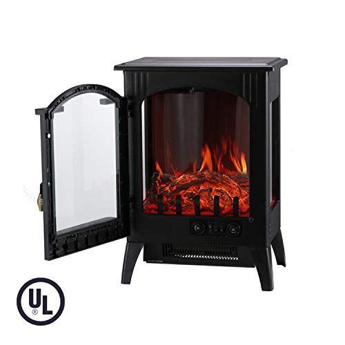 KOOLWOOM Portable Electric Fireplace Stove Heater with Thermostat for Office and Home 3D Flame & ...