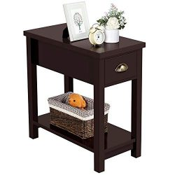 Yaheetech Sofa/Chair Side End Table for Small Space – Contemporary Style – 1 Drawer  ...