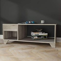 Weathered Grey Oak Coffee Table with Drawer and Open Storage Display