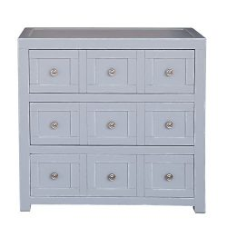Pulaski DS-D153-002 Apothecary Style Three Drawer Accent Storage Brushed Nickel Hardware Chest, Grey