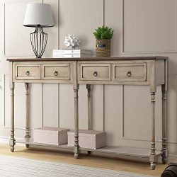 P PURLOVE Console Table Sofa Table with Storage for Entryway with Drawers and Shelf Rectangular  ...