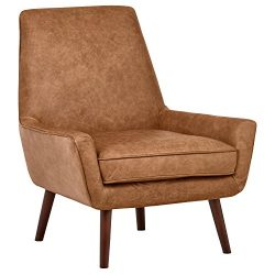 Rivet Leather Low Arm Accent Chair, Cognac – Jamie Mid-Century, 31″ W