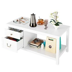 HOMECHO White Coffee Table with 2 Drawer Storage Shelf Open Shelves Large Modern Cocktail Tables ...
