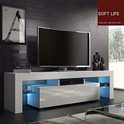 Modern TV Stand with LED Lights, High Gloss Media Console Storage Cabinet, TV Cabinet with Adjus ...