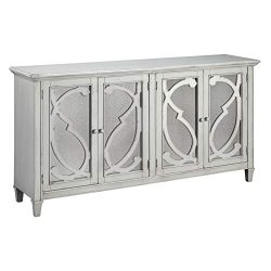 Ashley Furniture Signature Design – Mirimyn 4-Door Accent Cabinet – Distressed Gray  ...