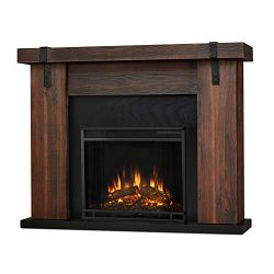 Real Flame Aspen Electric Fireplace, 48.5″ L x 13.5″ W x 38.19″ H, Chestnut Ba ...