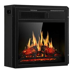 JAMFLY Electric Fireplace Insert 18″ Freestanding Heater with 7 Log Hearth Flame Settings  ...