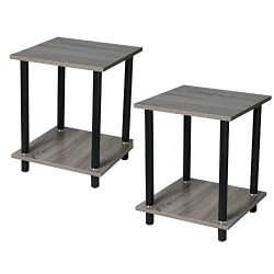 Toonshare Industrial Nightstand, Set of 2 Side Tables, End Table with Shelves, for Living Room,  ...