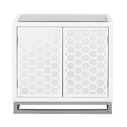 Pulaski DS-D204-044 Two Door Mirror Honeycomb Chest Accents, White