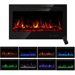 PieDle 36″ Electric Fireplace, in Wall Recessed & Wall Mounted LED Heater, Log Set &am ...