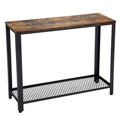 Yaheetech Industrial Console Table with Storage Shelf for Hallway, Sofa Table with Metal Legs fo ...
