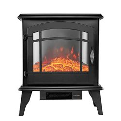 YOUNIS Portable Electric Fireplace Stove- Free Standing Electric Fireplaces, High, Low or Withou ...
