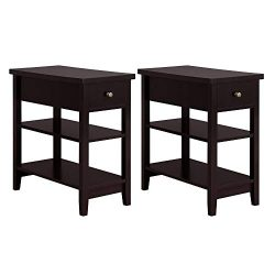 Yaheetech 3 Tier Sofa Side End Table with Double Shelves 1 Drawer – Nightstand Coffee Tabl ...