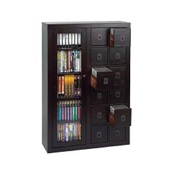 Leslie Dame GL06-0518-78 Glass Door Solid Oak Multimedia Storage Cabinet, Espresso