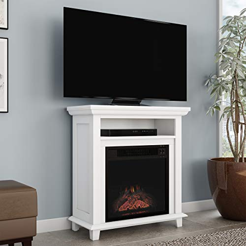 Northwest 80-FPWF-2 Electric Fireplace TV Stand- 29″ Freestanding Console with Shelf, Faux ...