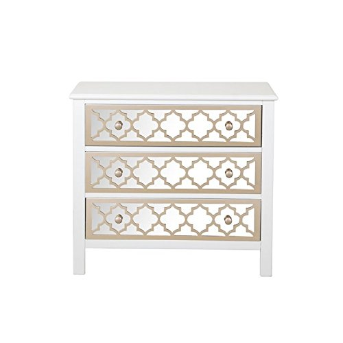 Beaumont Lane Mirrored 3 Drawer Accent Chest in White