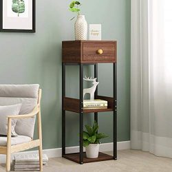 Side Table | End Table with Shelf for Storage, Wood Tall End Table Sofa Couch Side Coffee Table  ...