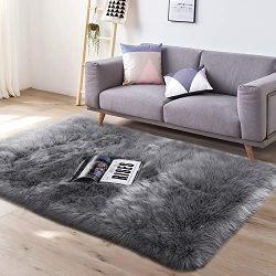 YJ.GWL Super Soft Faux Fur Area Rug (3'x5′) for Bedroom Sofa Living Room Fluffy Beds ...