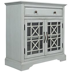 Pemberly Row Craftsman Accent Cabinet in Earl Gray