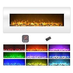 Northwest Electric Fireplace Wall Mounted Color Changing LED Flame, NO Heat, with Multiple Decor ...