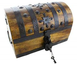 Well Pack Box Pirate Treasure Chest 14″x8″x9″ Decorative Storage Iron Lock and ...
