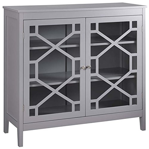 Riverbay Furniture 38″ Curio Cabinet in Gray