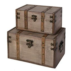 SLPR Natural Treasures Wooden Trunk Chest (Set of 2, Natural) | Decorative Old Rustic Wooden Kee ...