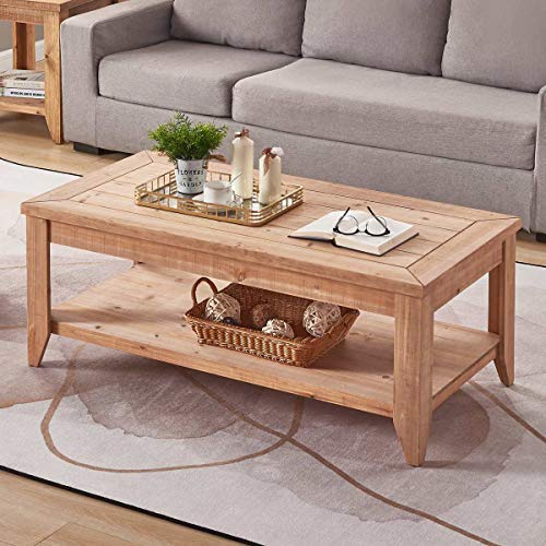 BON AUGURE Rustic Coffee Table with Storage Shelf, Vintage Wood Coffee Table for Living Room, Fa ...