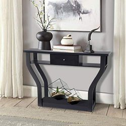 Giantex Console Hall Table for Entryway Small Space Sofa Side Table with Storage Drawer and Shel ...