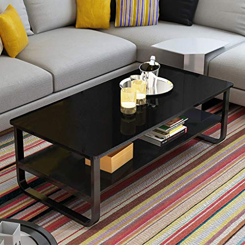 Ketteb Modern Home Coffee Table 2-Tier Cocktail Table with Storage Shelf for Living Room Look Ac ...