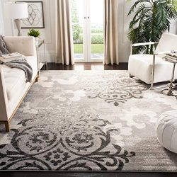 Safavieh Adirondack Collection ADR114B Silver and Ivory Contemporary Chic Damask Area Rug (8R ...