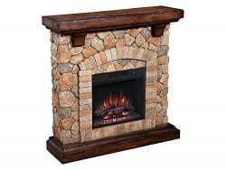 Classic Flame Tequesta Wall Mantel with 18″ Electric Fireplace, Old World Brown