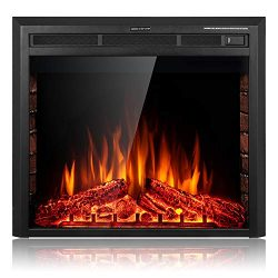 "SUNLEI 32"" Electric Fireplace Insert, Freestanding& Recessed Built in Fireplace Electr ..."